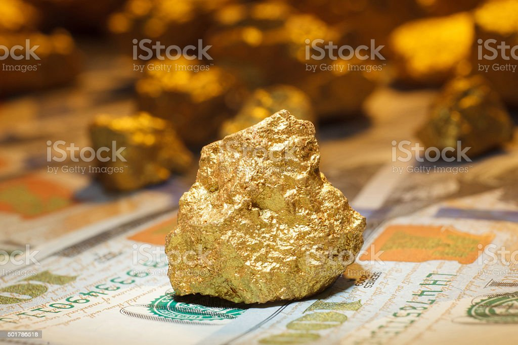 big gold nugget and dollar bills stock photo