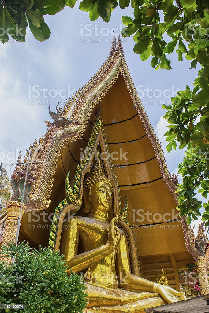 Big golden Buddha in Wat Tham Suea,Kanchanaburi royalty-free stock photo