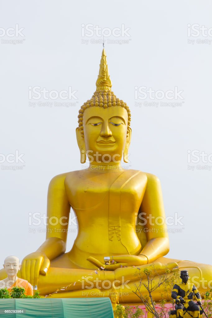 Big golden buddha Stucco at Wat Klong reua. Phitsanulok, Thailand. stock photo