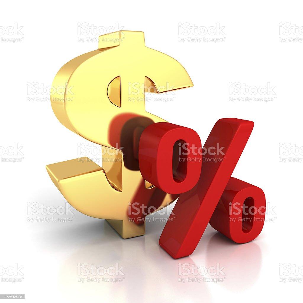 Big golden dollar symbol red percent sign stock photo