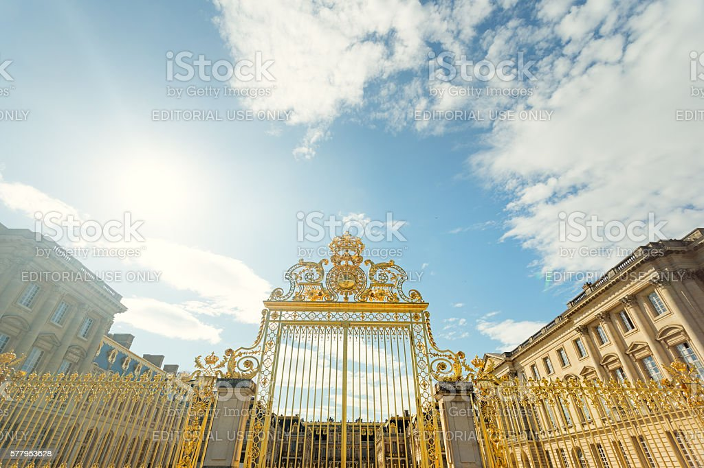 Big, golden entrance gate stock photo