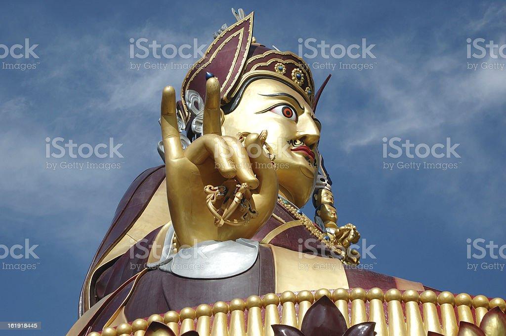 Big golden statue of Padmasambhava,Rewalsar,Himachal pradesh,India stock photo