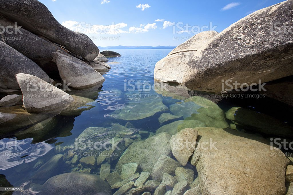 Big granite boulders at pristine lake shore stock photo