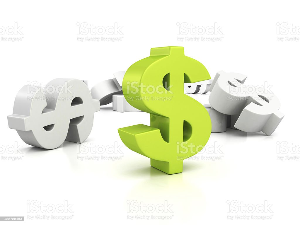 big green dollar currency symbol out from whites stock photo