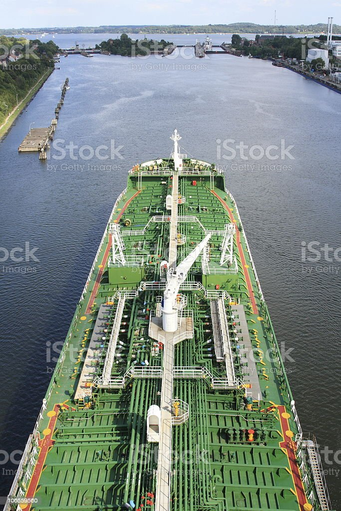 Big Green Tankship stock photo