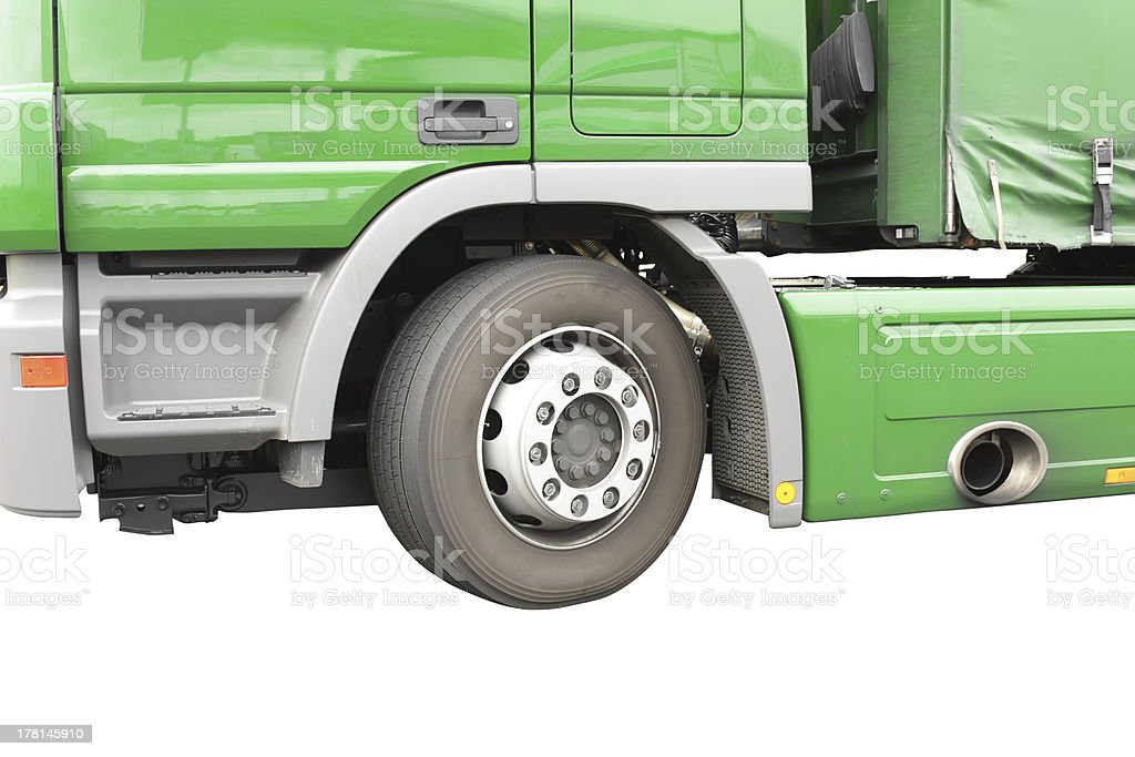 Big green truck. Isolated over white. royalty-free stock photo