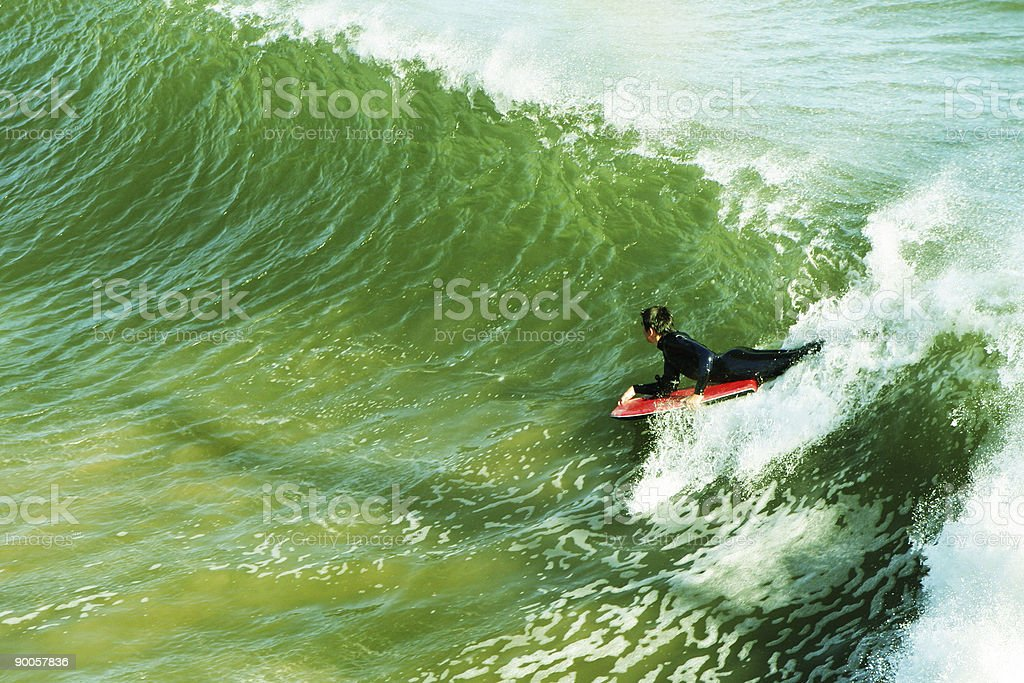 Big Green Waves and a Body Boarder stock photo