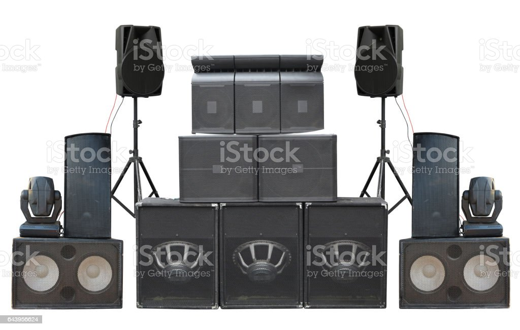 Big group of old industrial powerful stage sound speakers isolated stock photo