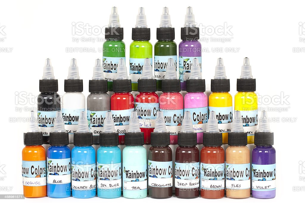 Big Group of Paint bottles for tattoo art royalty-free stock photo