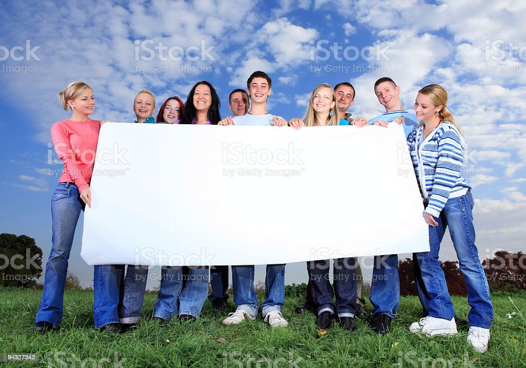 Big group of people holding placard. royalty-free stock photo