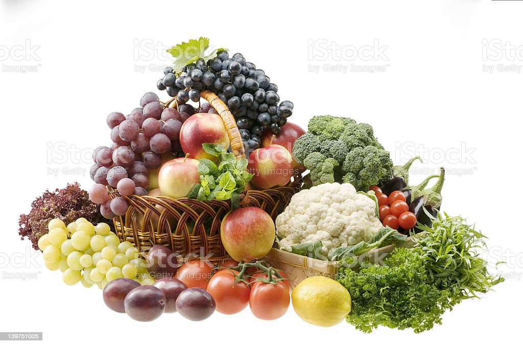 Big group of vegetable and fruit food objects royalty-free stock photo