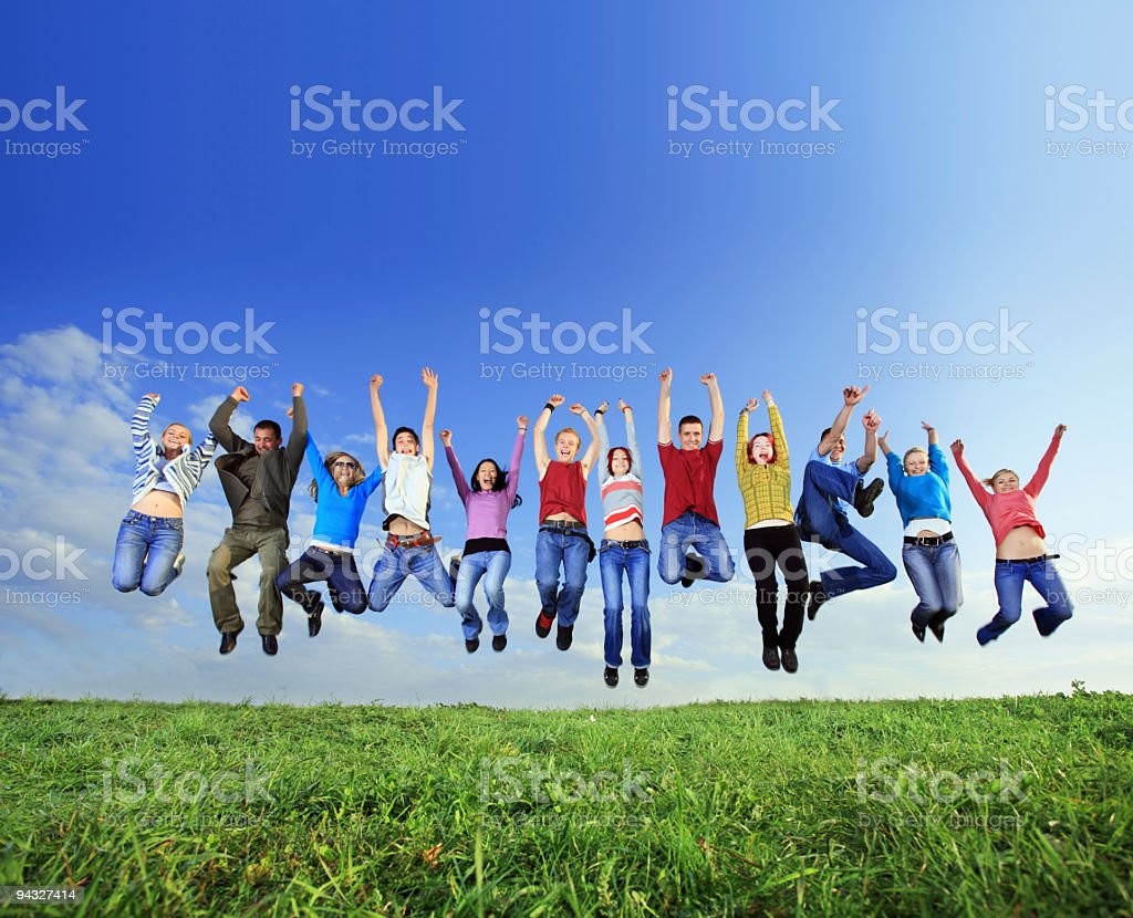 Big group of young jumping people. royalty-free stock photo