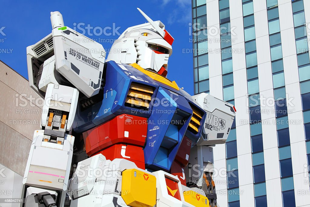 Big gundam robot in Tokyo stock photo