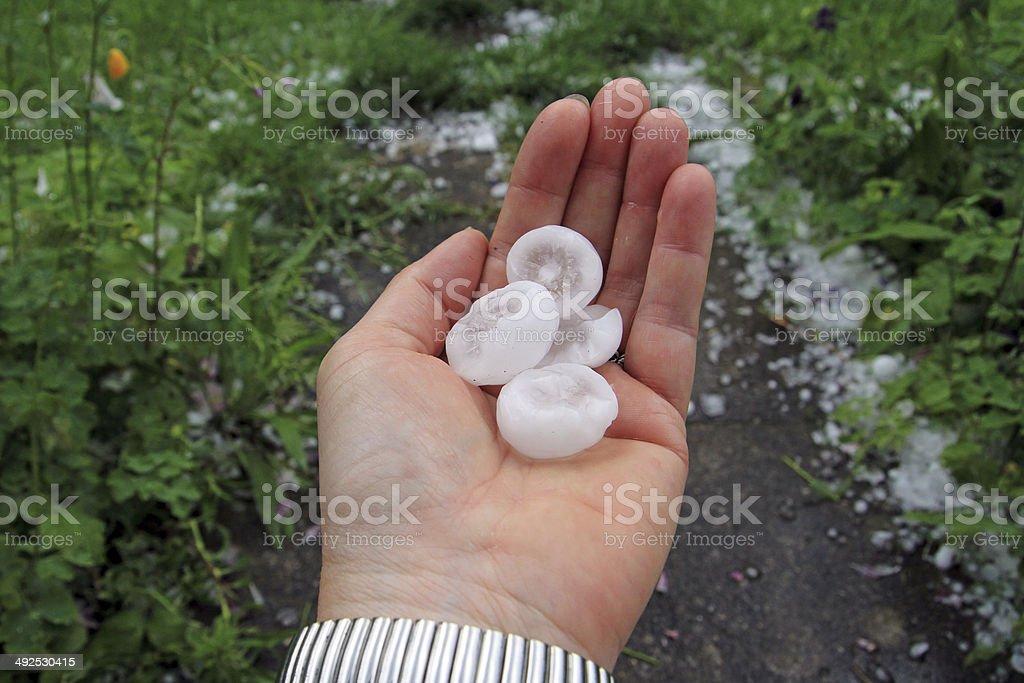 big hailstones stock photo