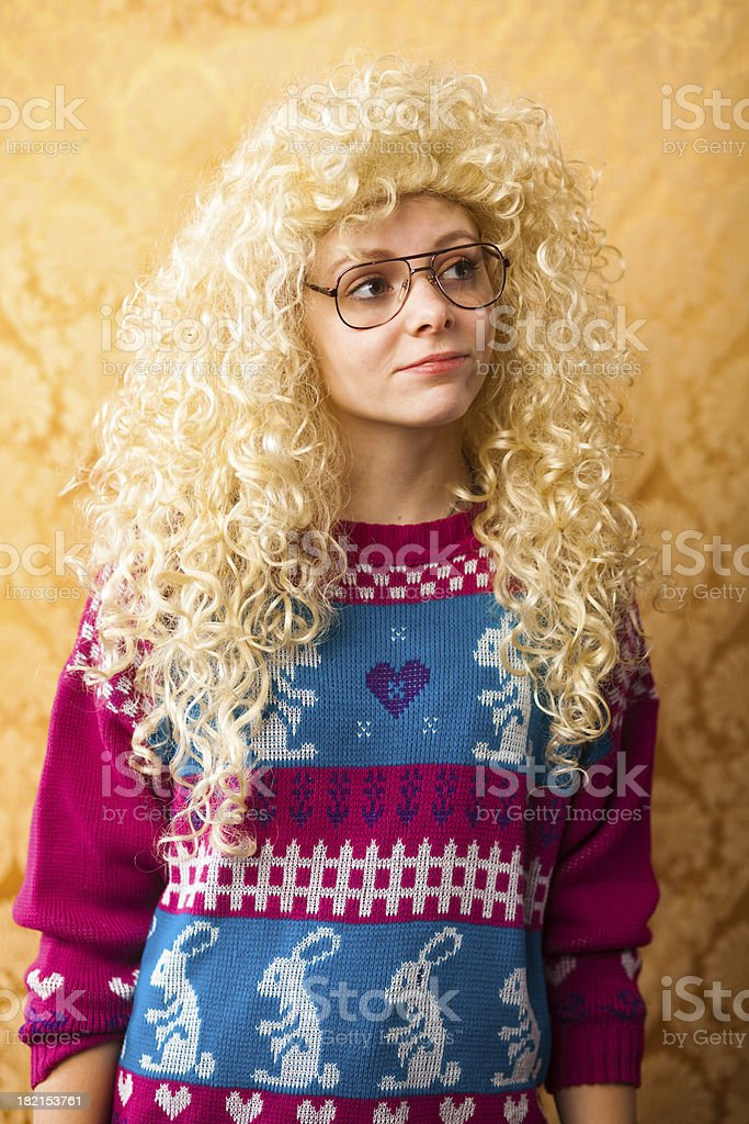 Big hair woman spacing out royalty-free stock photo