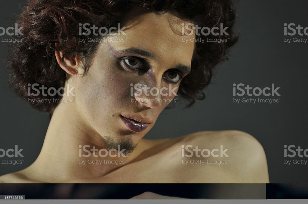 Big haired man royalty-free stock photo