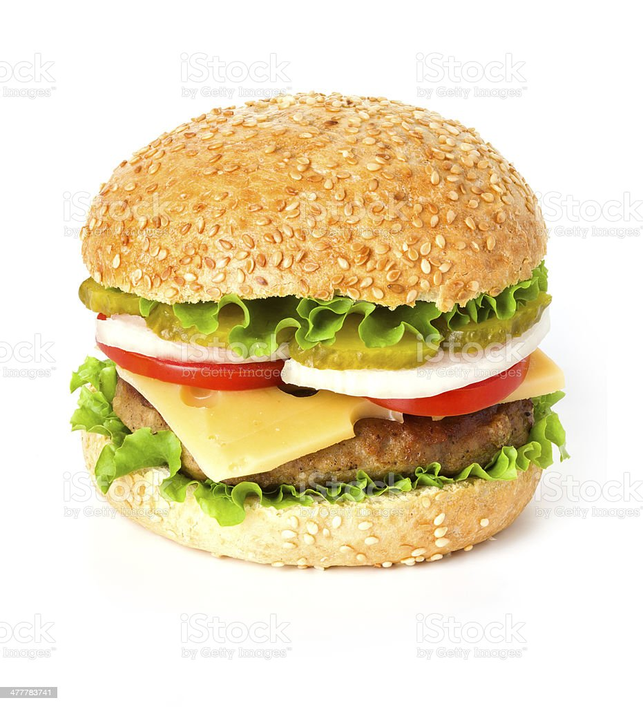 Big hamburger on white background royalty-free stock photo