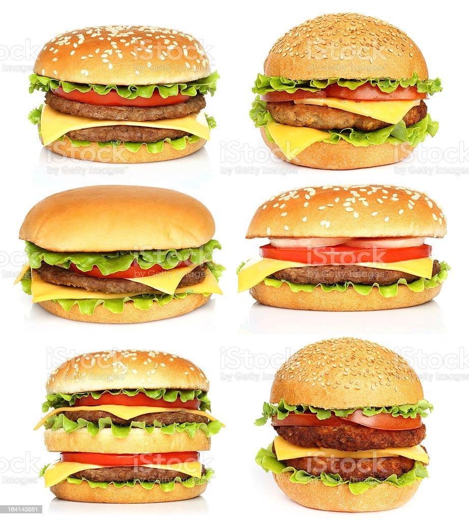 Big hamburgers on white background stock photo