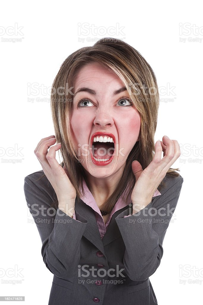 Big Head Stressed Screaming Business Woman royalty-free stock photo