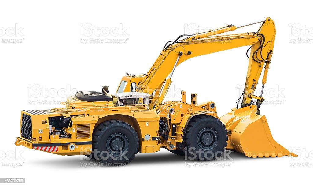 Big heavy excavator isolated on white background stock photo