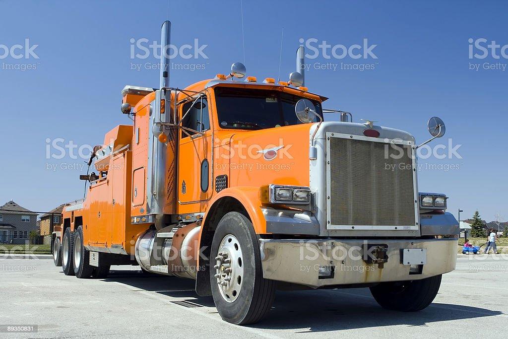 Big heavy orange truck stock photo