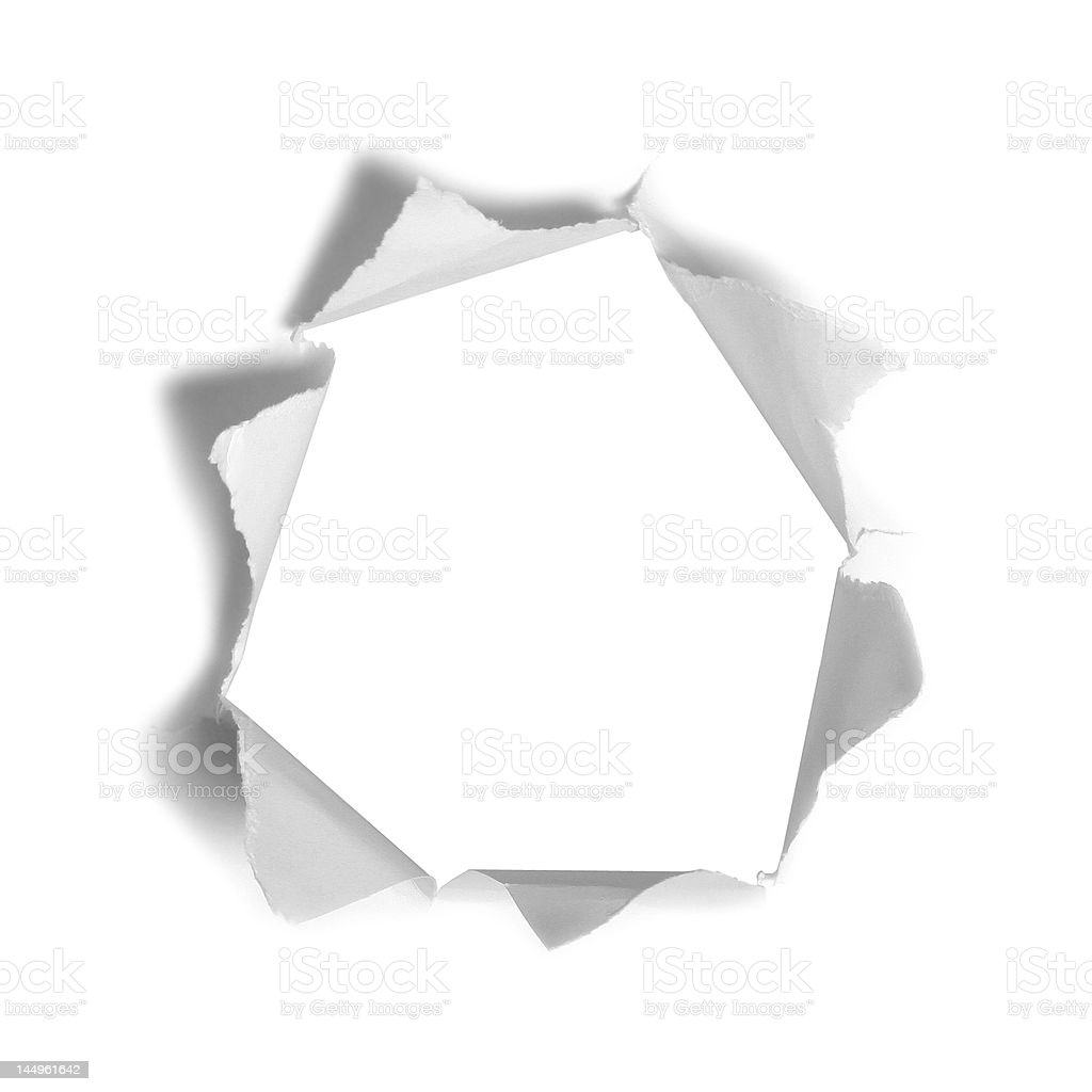 big hole in the white paper royalty-free stock photo
