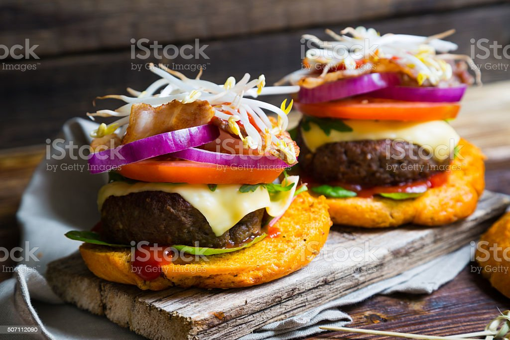 Big homemade burgers stock photo
