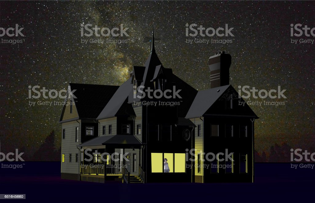 big house and starry sky vector art illustration