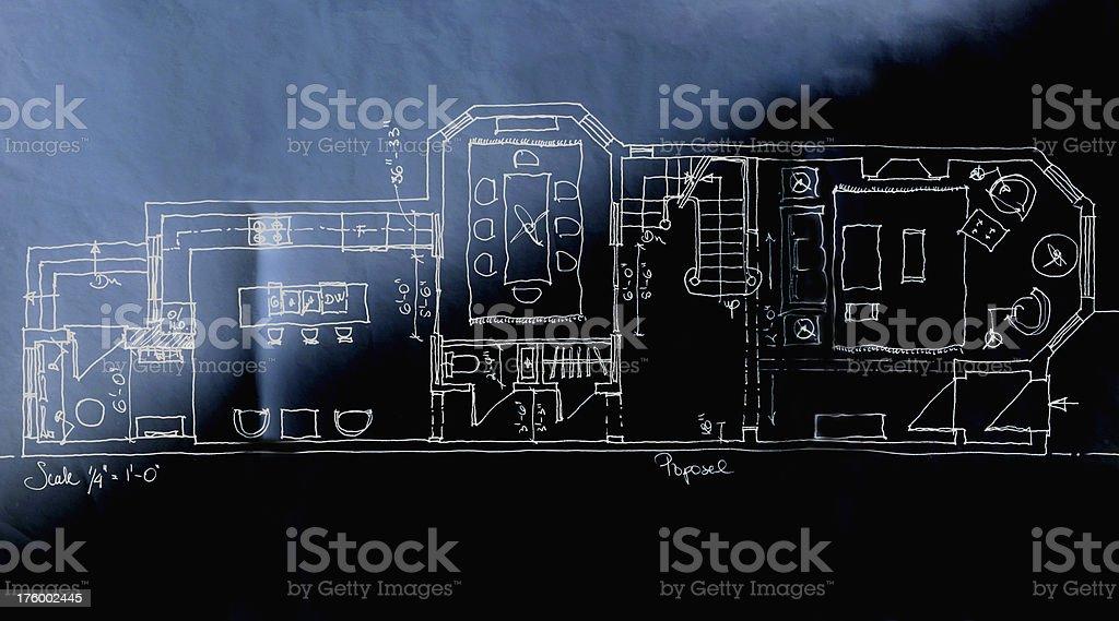 big house blueprint royalty-free stock photo