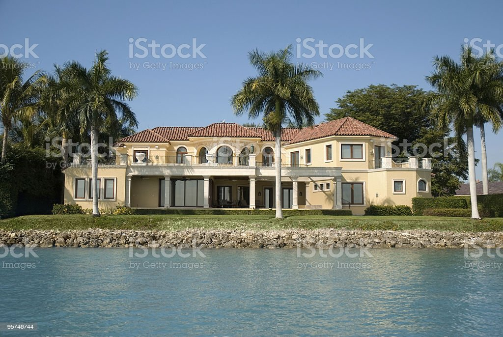 Big house with a waterfront view stock photo