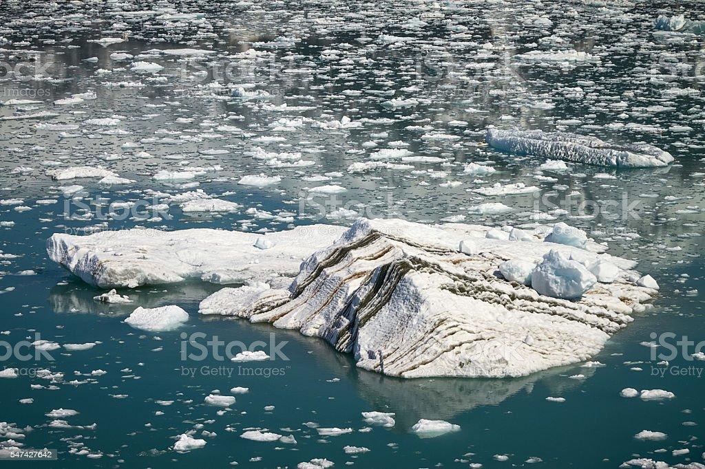 Big Iceberg Floating in Close Hubbard Glacier in Alaska stock photo