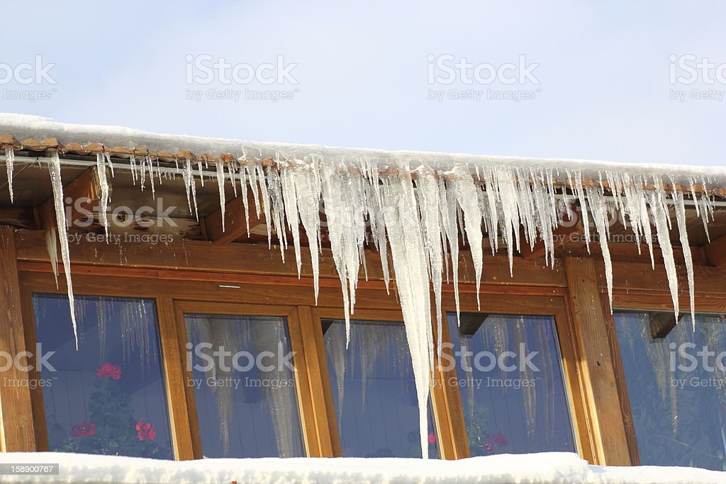 big icicles in a cold day royalty-free stock photo