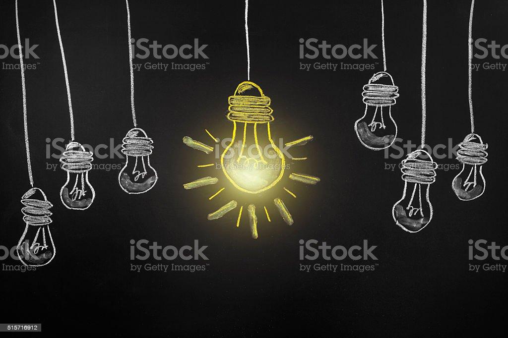Big Idea Light Bullb on blackboard stock photo