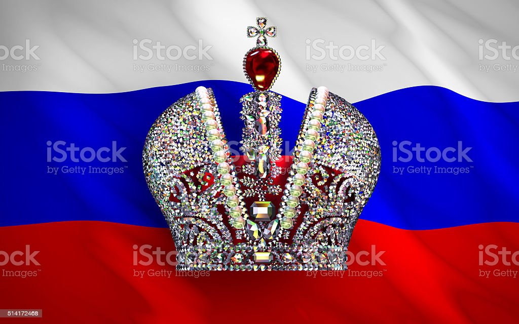 Big Imperial Crown Over Russian Flag stock photo