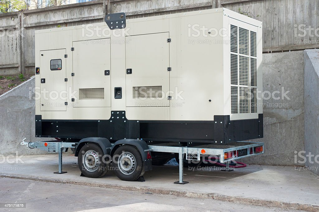 Big Industrial Backup Generator for Office Building stock photo