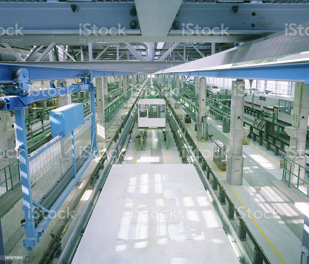 Big industrial hall for train repairing stock photo