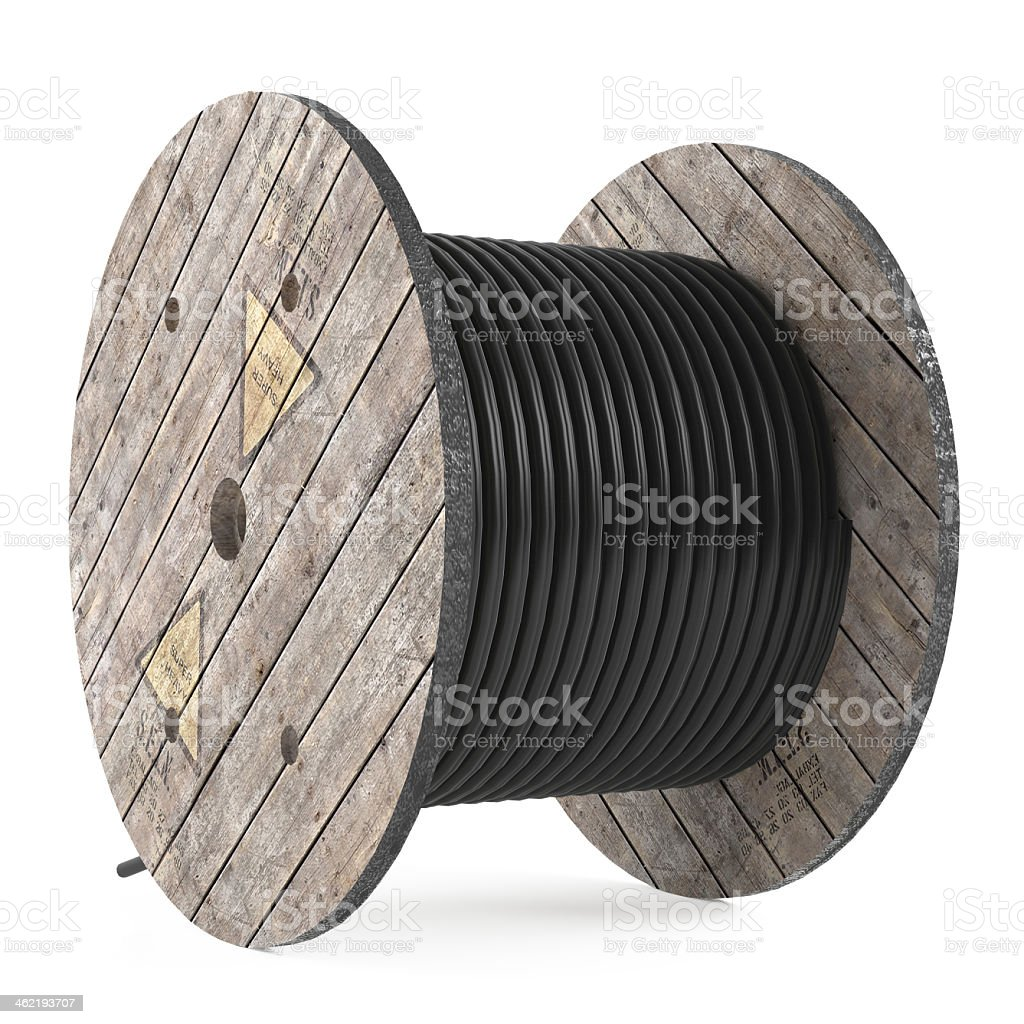Cable drums. Industrial hose reel stock photo