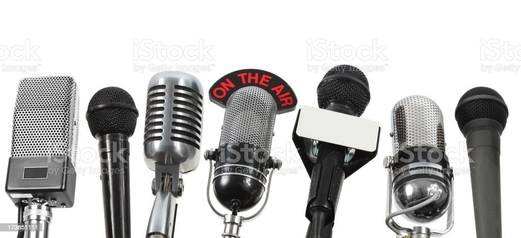 Big interview with 7 microphones stock photo