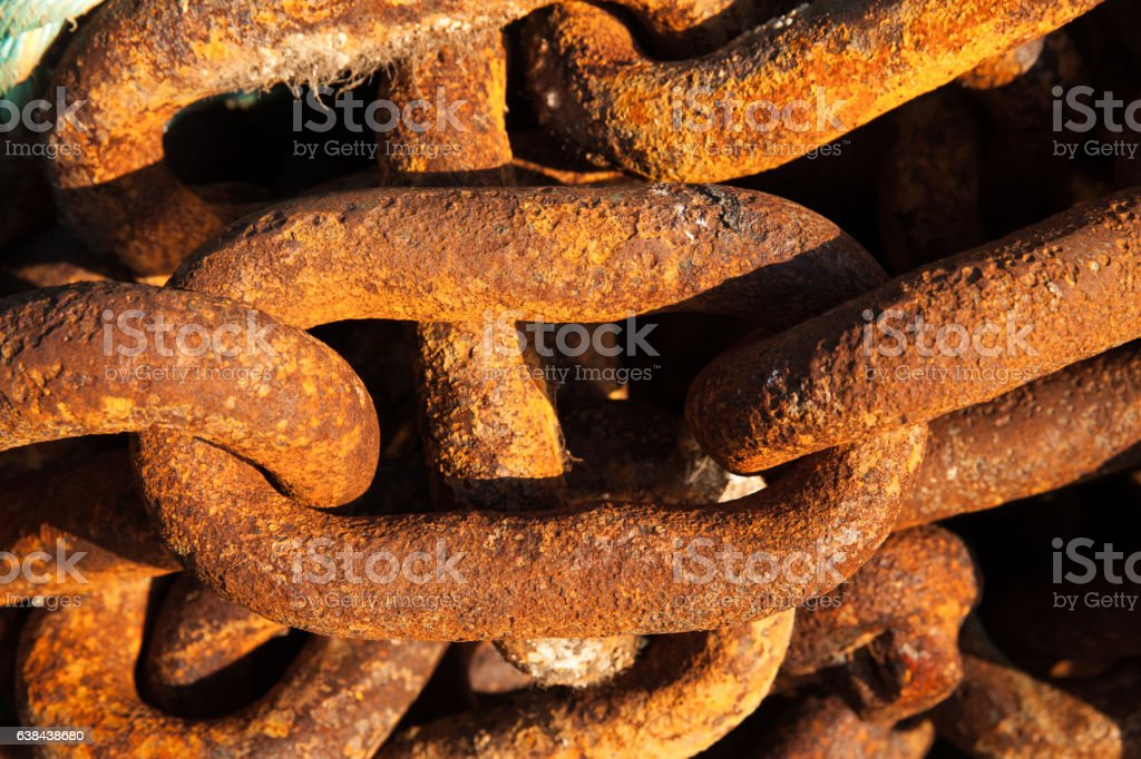 Big iron chains from ships anchor stock photo