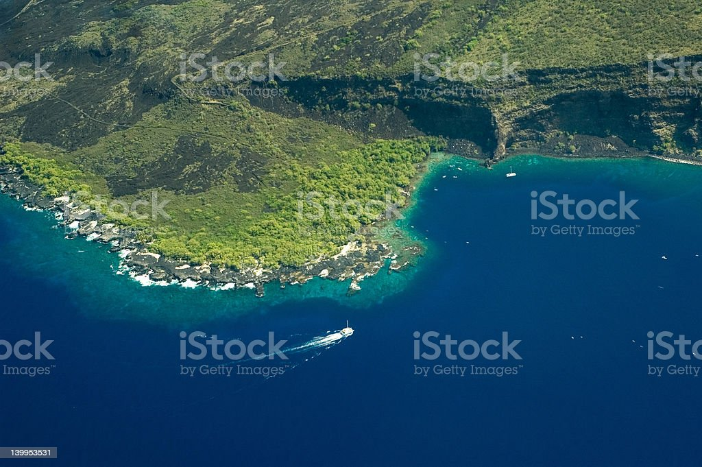 Big Island aerial shot - Kealakekua Bay stock photo