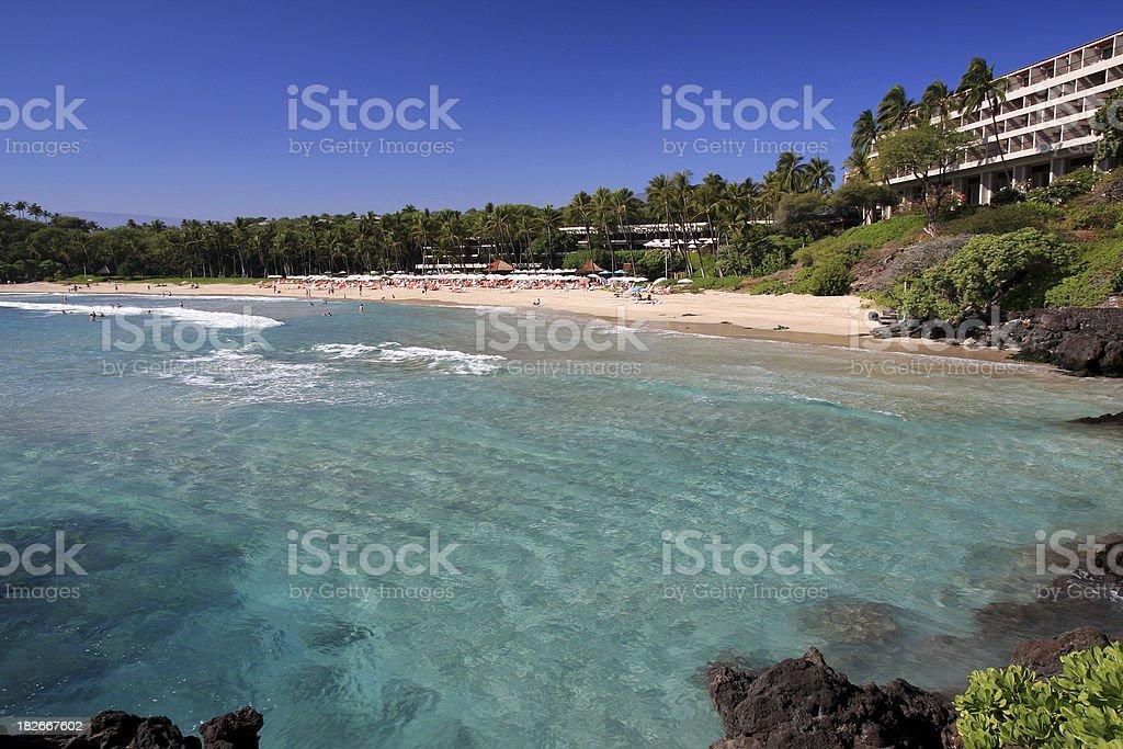 Big Island Hawaii beach front Pacific Ocean resort hotel stock photo