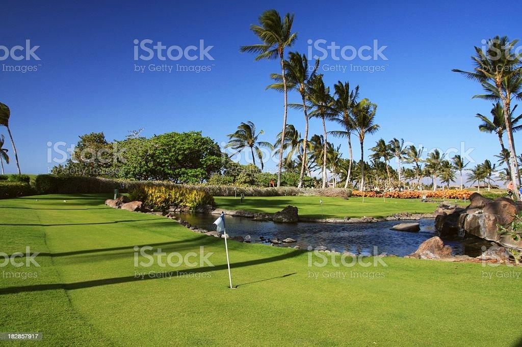 Big Island Hawaii resort hotel miniature golf course stock photo