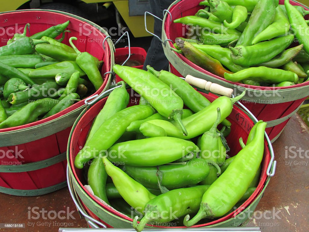 Big Jim Hatch Chili In A Peck stock photo