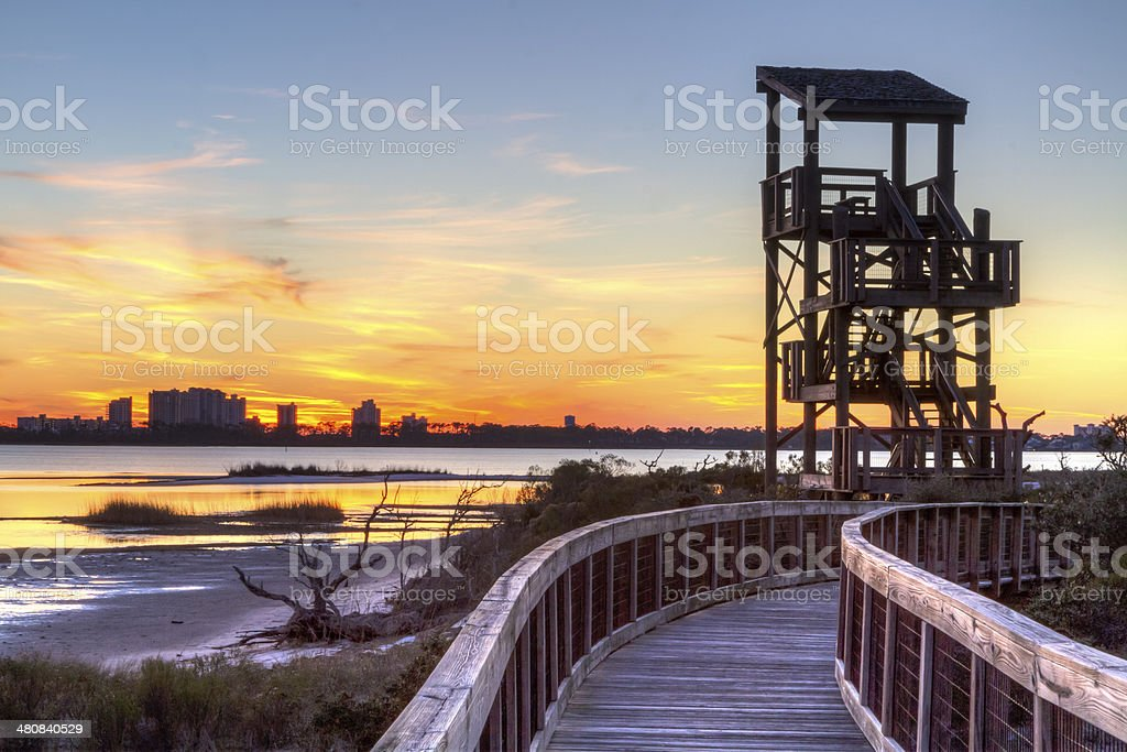 Big Lagoon Observation Tower Sunset stock photo