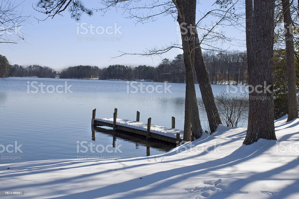 Big lake on a winter day stock photo
