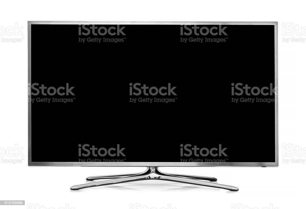 big led tv isolated on white background stock photo