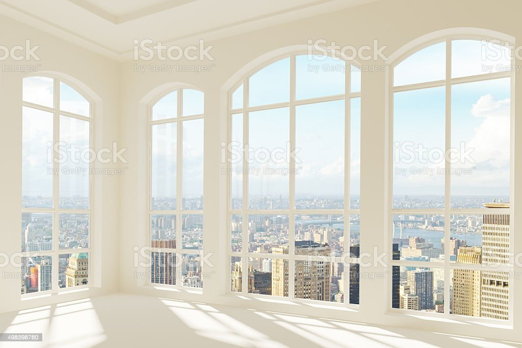 Big light modern room with city view stock photo