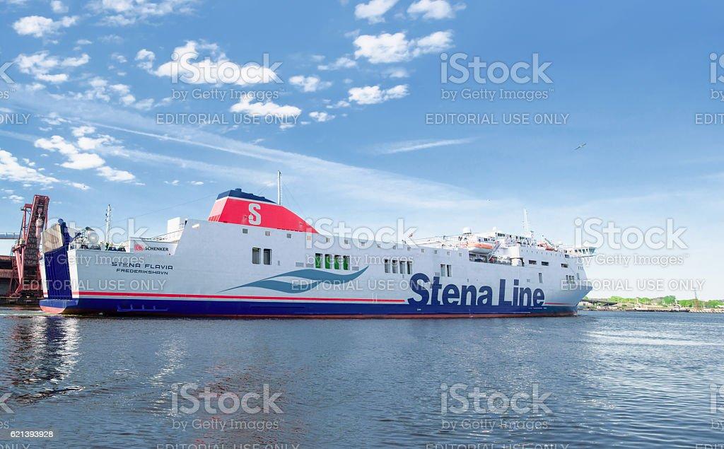 Big Liner in Venta River on Ventspils in Lativa stock photo