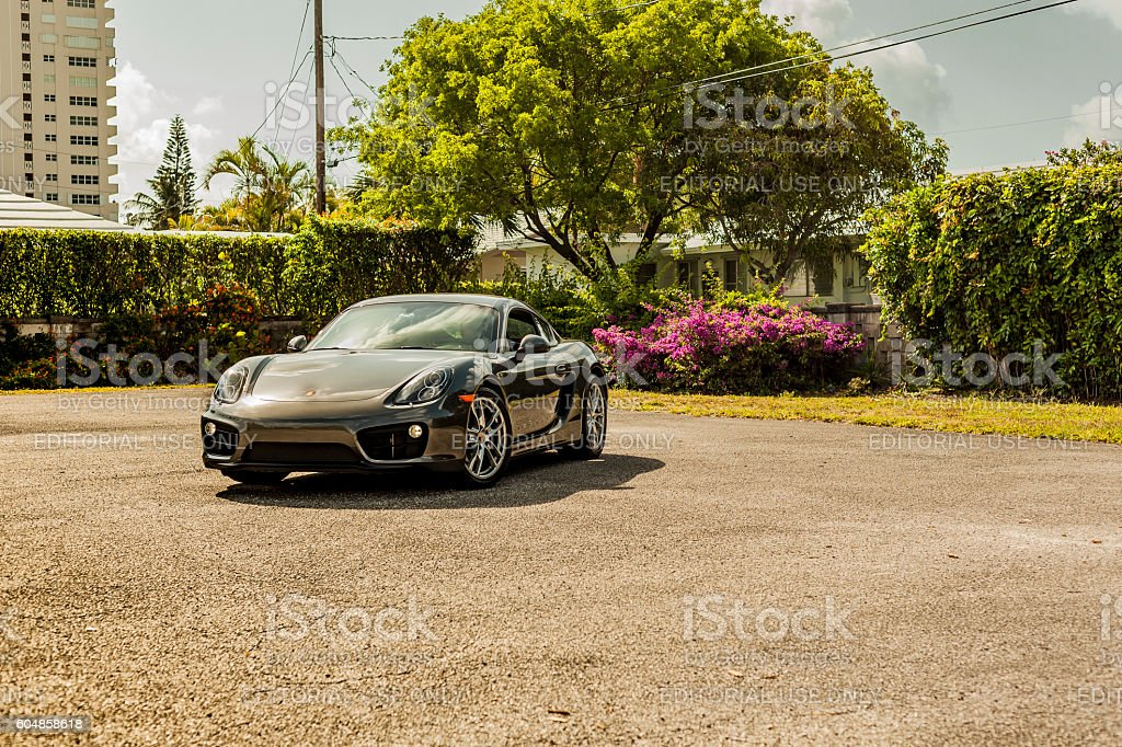 Big long shot Porsche Cayman in residential area stock photo