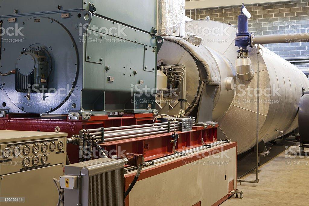 Big machineries in power generator room stock photo